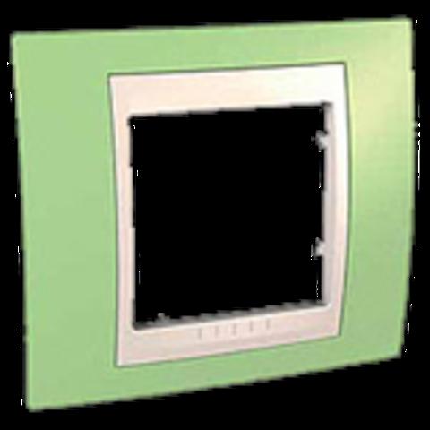 Рамка на 1 пост. Цвет Зеленое яблоко/бежевый. Schneider electric Unica Хамелеон. MGU6.002.563