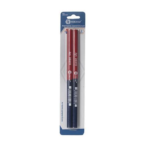 Карандаш строительный КОБАЛЬТ 2-х цветный, красный/синий 180 мм (2 шт.) блистер (248-627)