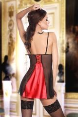Двухцветная сорочка со шнуровкой на спине Michele красная