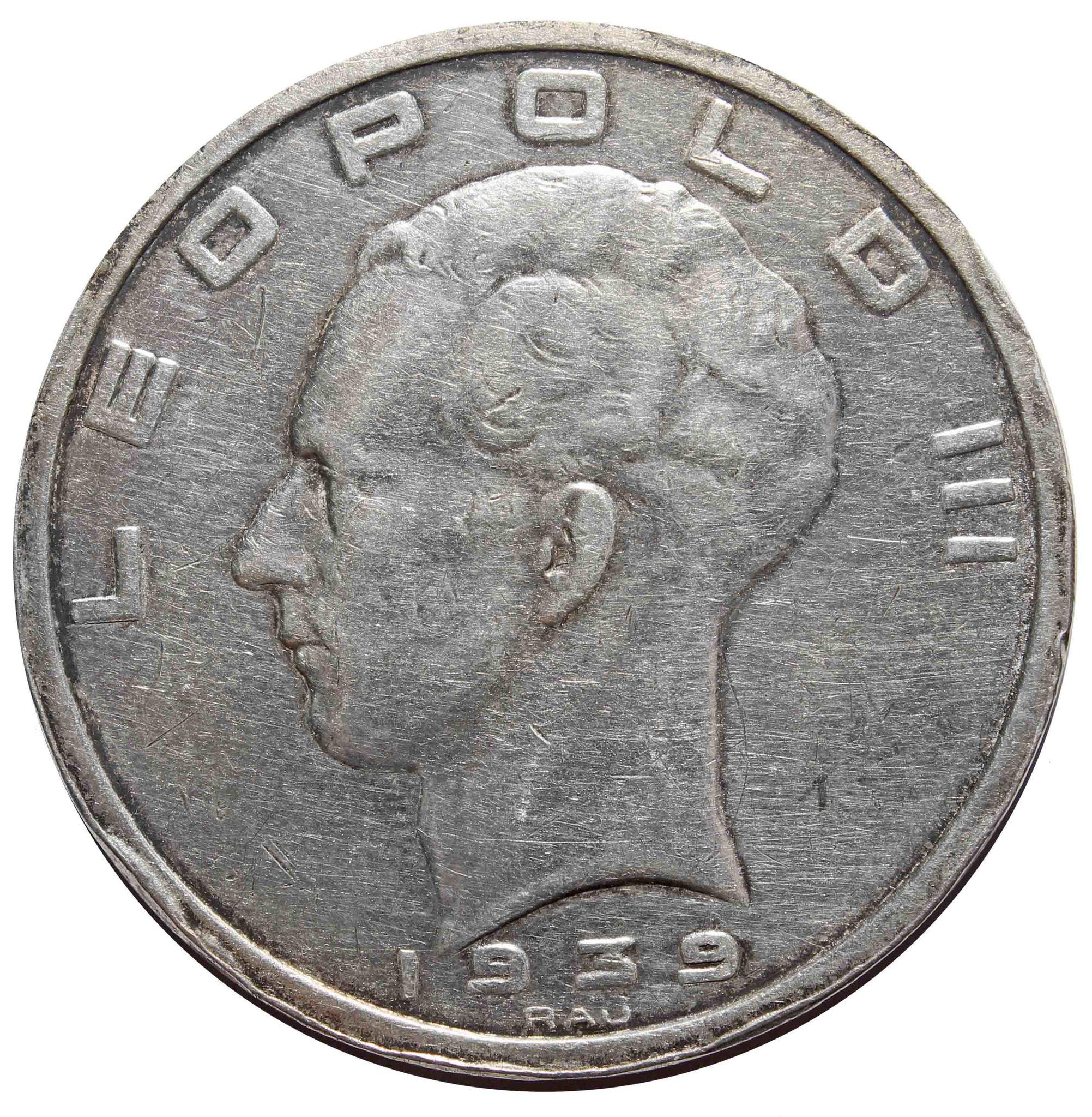 50 франков Леопольд III. Бельгия. 1939 год. Серебро VF-XF