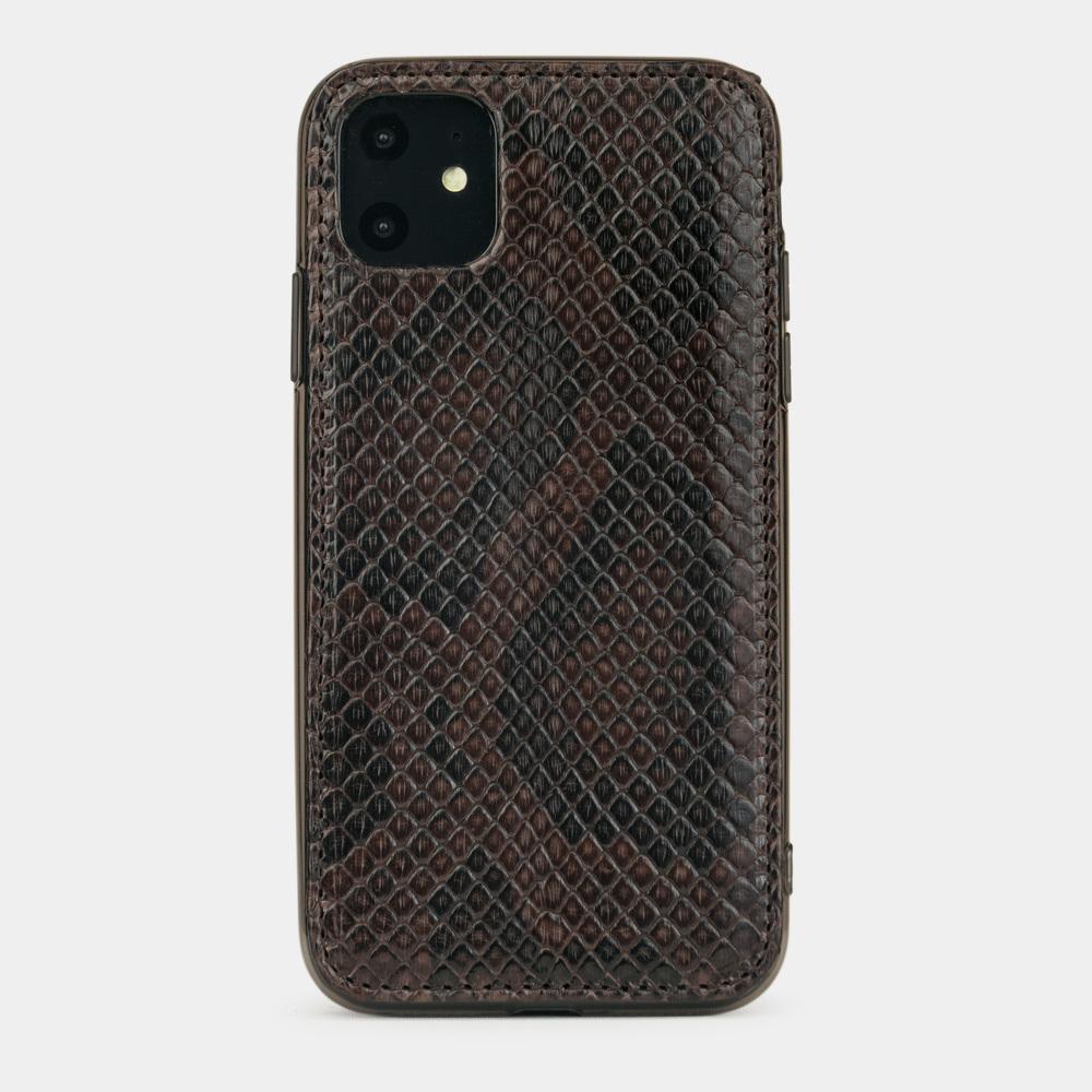Чехол-накладка для iPhone 11 из натуральной кожи питона, темно-коричневого цвета