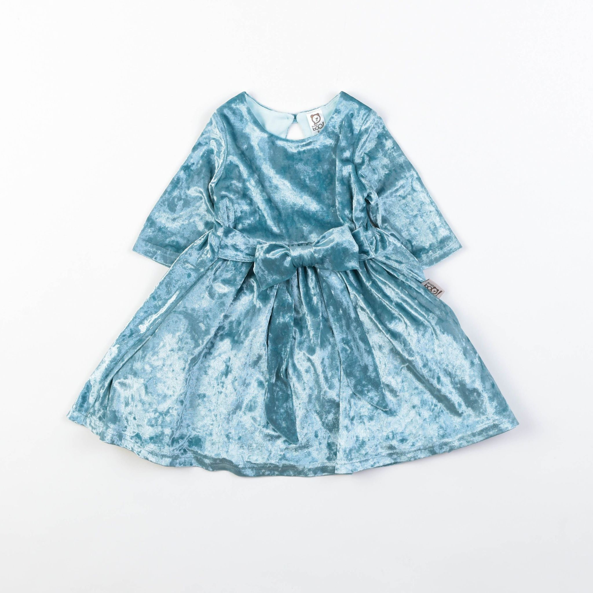 Платье бархатное с бантом