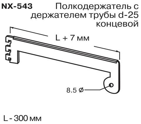 NX-543 Полкодерж. с держ. тр.d-25 конц. (L=300мм)