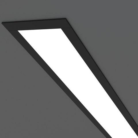 Линейный светодиодный встраиваемый светильник 128см 25Вт 3000К черный матовый 100-300-128