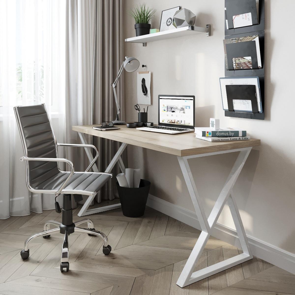 Письменный стол ДОМУС СП014 вяз светлый/металл белый
