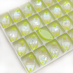 Стразы пришивные оптом купить Neon Yellow AB, Navette