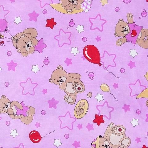Бязь 120 гр/м2  детская 150 см 350/3 Мишки розовый