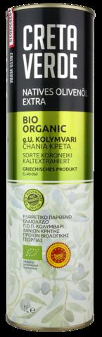 Оливковое масло CRETA VERDE ОРГАНИК с острова Крит PDO 1 л металл