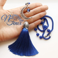Кисточка декоративная, цвет - синий, 85х12 мм