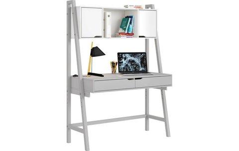 Стол письменный Polini kids Mirum 1446 высокий с полкой, серый/двери белые