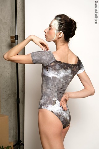 T-leotard, stained in print | mud