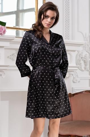 Рубашка-халат на пуговицах Mia-Mella CLEVER Клевер 8947 черный
