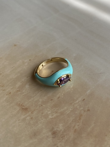 Кольцо Алиен голубое, позолота