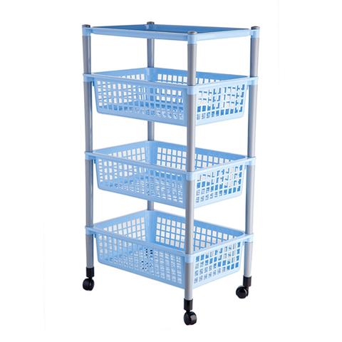 Контейнер д/овощей 44х31х83см 4 секции с колес.,голубая,пластик
