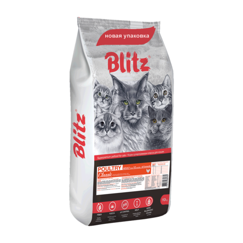 Blitz Сухой корм для кошек с домашней птицей