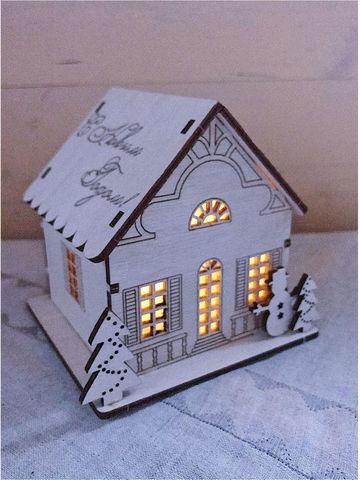 """Новогодний светильник со светодиодной свечой """"Домик мини"""""""