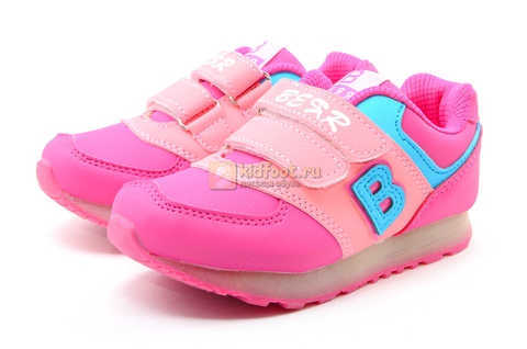 Светящиеся кроссовки Бебексия (BEIBEIXIA) для девочек, цвет розовый, светится вся подошва. Изображение 5 из 10.