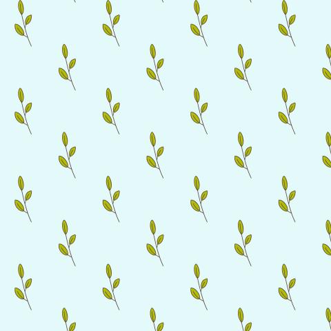 Паттерн с листочками на мятном фоне.