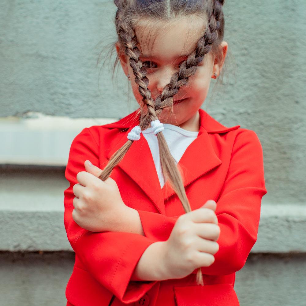 Дитячий, підлітковий літній брючний костюм в червоному кольорі для дівчинки