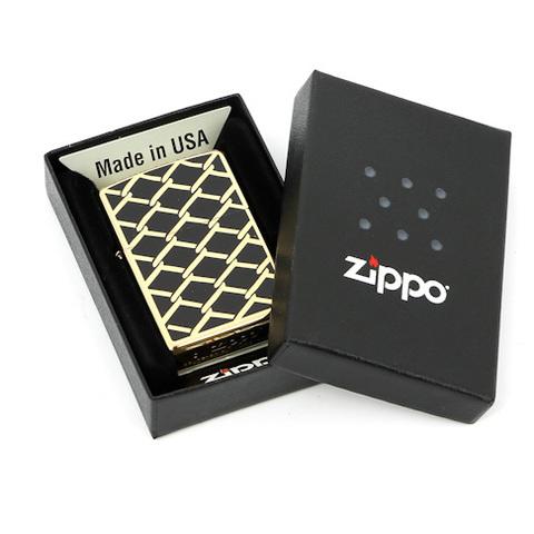 Зажигалка Zippo Fence Design, латунь с покрытием High Polish Brass, золотистый, 36х12x56 мм