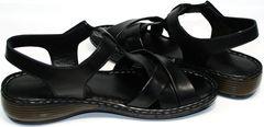 Босоножки женские кожаные без каблука Evromoda 15 Black.