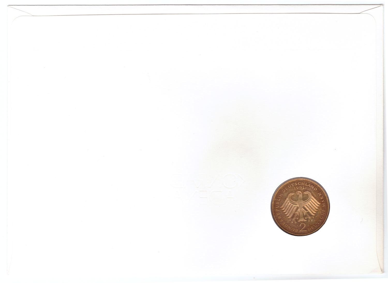 2 марки. 20 лет ФРГ - Конрад Аденауэр. (J) Германия.  1981 г. UNC (в конверте со спецгашением)