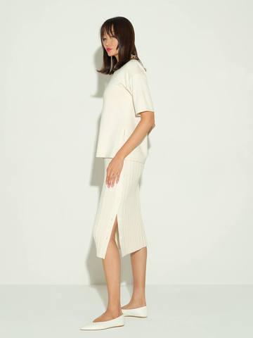 Женская юбка молочного цвета из шелка и кашемира - фото 4