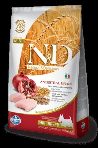 купить Farmina N&D Ancestral Grain Chicken & Pomegranate Adult Mini сухой низкозерновой корм для взрослых собак мелких и карликовых пород курица гранат