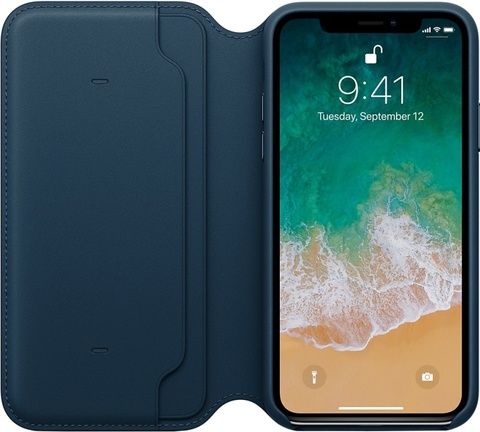 Клип-кейс Apple Leather Folio для iPhone X (космический синий)