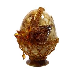 Сувенирное Пасхальное яйцо (натуральный янтарь, бисер), АВ-0002