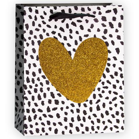 Пакет подарочный, Сердце, Золото/Черный, с блестками, 23*18*10 см