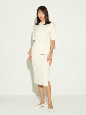 Женская юбка молочного цвета из шелка и кашемира - фото 2