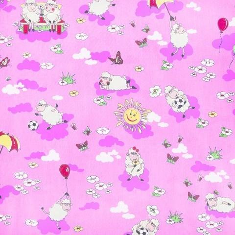 Бязь 120 гр/м2  детская 150 см 317/2 Овечки цвет розовый