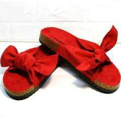 Модные босоножки женские шлепки с бантом Comer SAR-15 Red.