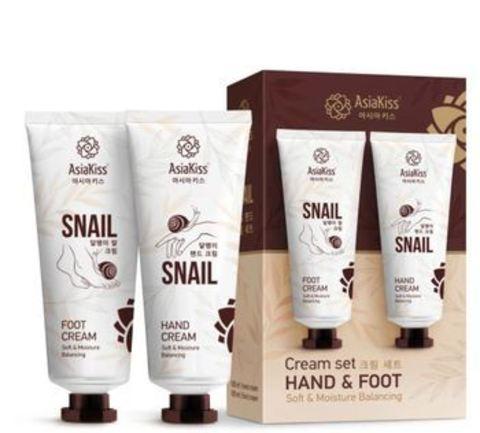 Набор кремов для рук и ног AsiaKiss с экстрактом слизи улитки 100 мл