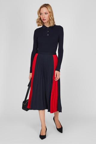 Женская темно-синяя плиссированная юбка Tommy Hilfiger