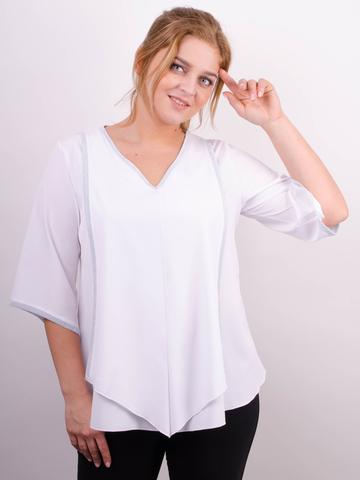 Марина. Весняна блуза size plus. Білий.
