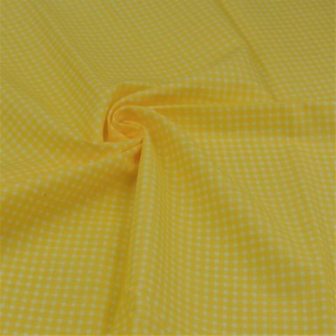 Ткань хлопковая желтая клетка