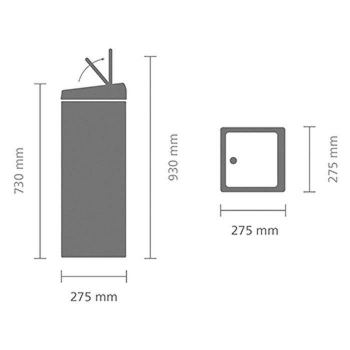Мусорный бак Brabantia Touch Bin прямоугольный (25л), Матовый черный, арт. 415906 - фото 1