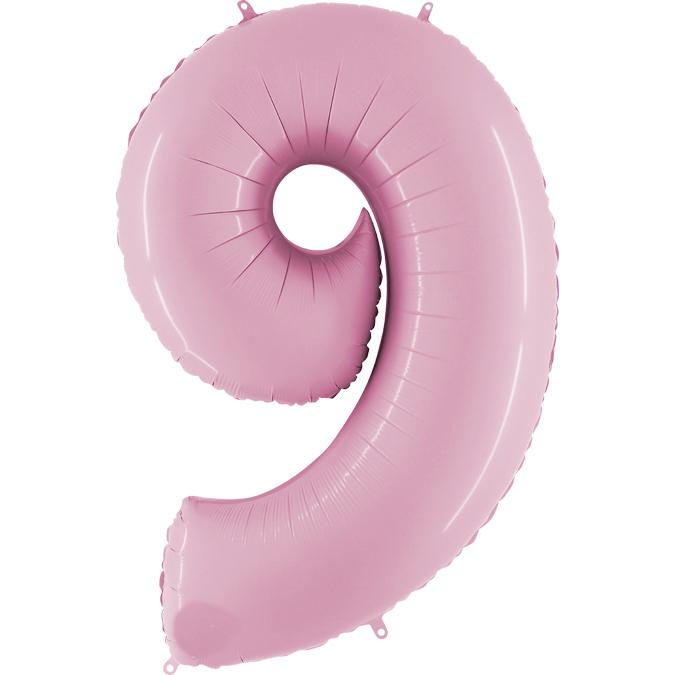 Фольгированная цифра 9, пинк