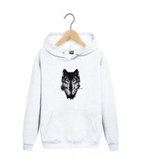 Толстовка белая 009 с капюшоном (худи, кенгуру) и принтом Волк (Wolf)