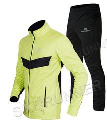 Детский утеплённый лыжный костюм Nordski Jr. Base Lime-Black