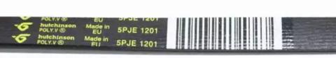Ремень 1201 J5 PJE Hutchinson для стиральной машины Indesit (Индезит) /Ariston (Аристон)/ Stinol (Стинол) 1128мм, черный, желтая надпись