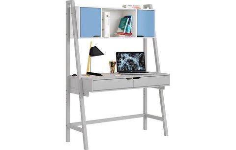 Стол письменный Polini kids Mirum 1446 высокий с полкой, серый/двери голубые