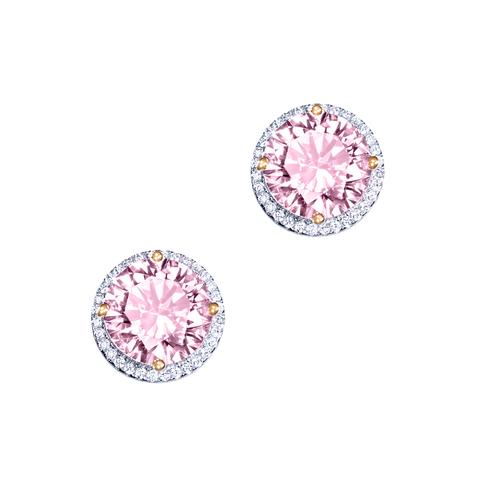 4865- Пусеты CARATS  из серебра с круглыми, розовыми цирконами