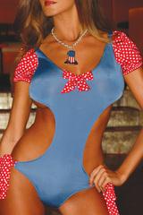Красно-голубой купальник с открытой спиной Candy Dream -