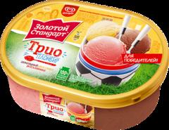 """Мороженое """"Золотой стандарт"""" пломбир трио ванильный, шоколадный, клубничный, 475г контейнер"""