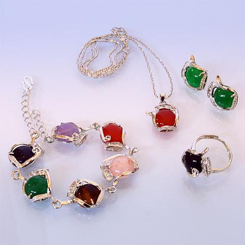 Набор: подвеска, браслет, серьги и кольцо