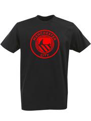 Футболка с однотонным принтом FC Manchester City (ФК Манчестер Сити) черная 005
