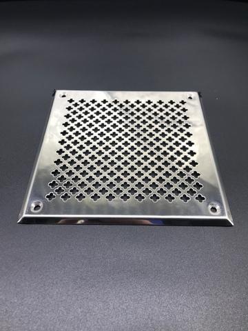 Решётка 150х150 мм, нержавеющая сталь, перфорация цветочек